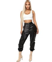 Winter Black Leather High Waist Cargo Pants with Belt