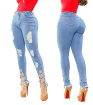 Stilvolle Blue Tight Ripped Damaged Jeans