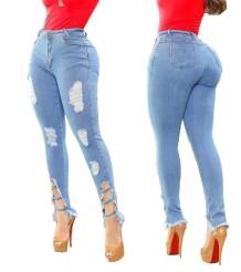 Стильные синие узкие рваные поврежденные джинсы