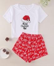 Adult Women Christmas Print Shirt und Shorts Pyjama Set