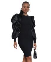 Autumn Black Puff Sleeves Formelles Partykleid