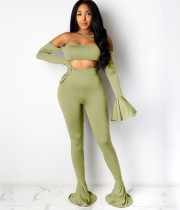 Herfst effen effen party crop top en bell bottom broek set