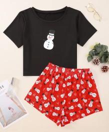 Yetişkin Kadın Noel Baskı Gömlek ve Şort Pijama Takımı