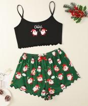 Adult Women Christmas Print BH und Shorts Pyjama Set