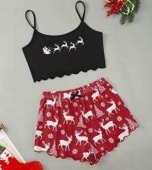 Yetişkin Kadın Noel Baskı Sütyen ve Şort Pijama Takımı