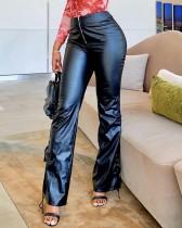 Kışlık Siyah Deri Bağcıklı Alt Yüksek Bel Geniş Pantolon