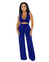 Conjunto de pantalones de cintura alta y top corto con cuello halter de fiesta de verano