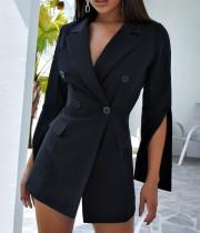 Otoño elegante vestido de chaqueta negro envuelto con mangas abiertas