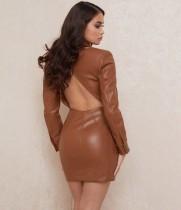 Winter Khaki Leder ausgeschnitten zurück Mini Club Kleid