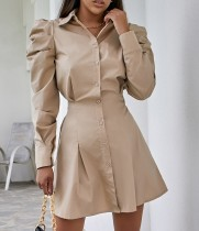 Vestido elegante de blusa con corsé de manga abullonada de otoño