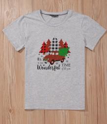 Camicia girocollo con stampa natalizia e maniche corte
