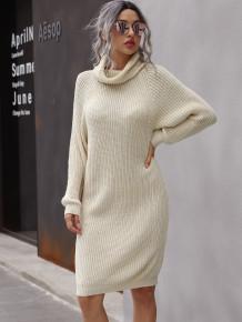 Kış Düz Renk Yatak Açma Yaka Kazak Elbise