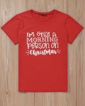 Weihnachtsdruck Rundhals-Shirt mit kurzen Ärmeln