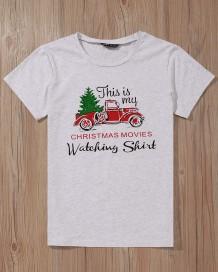 Kısa Kollu Noel Desenli Yuvarlak Yaka Gömlek