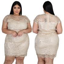 Büyük Beden Parti Kısa Kollu Pullu Mini Elbise