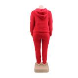 Plus size winter fleece hoody effen sweatsuit