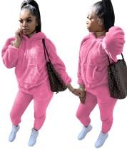 Plus Size Winter Fleece Hoody Plain Sweatsuit