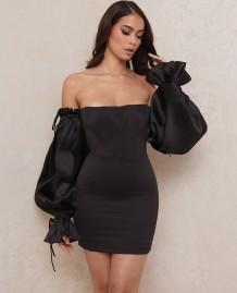 Autumn Party Vintage Black Puff Sleeves Strapless Mini Dress