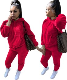 Plus size winter fleece hoody effen sweatsuit