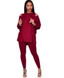 Herbst Solid Plain Cut Out Hoody Shirt und Hosen Set