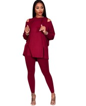 Autumn Solid Plain Cut Out Hoody Shirt and Pants Set