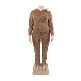 Sweatsuit Plus Size Winter Fleece Liso com Capuz