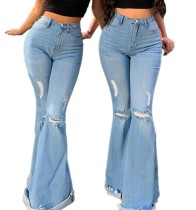 Herbstliche High Waist Blue Ripped Flare Jeans