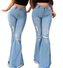 Herfst hoge taille blauwe gescheurde flare jeans