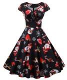 Vintage Print Vintage Frauen Skater Kleid