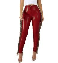 Осенние кожаные брюки с кисточками и высокой талией
