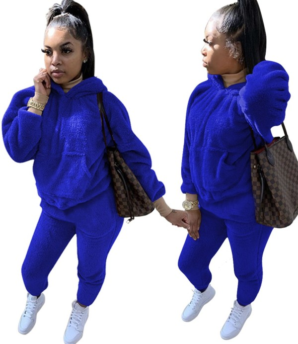 Sweatsuit Plus Size Winter Fleece Liso com Capuz