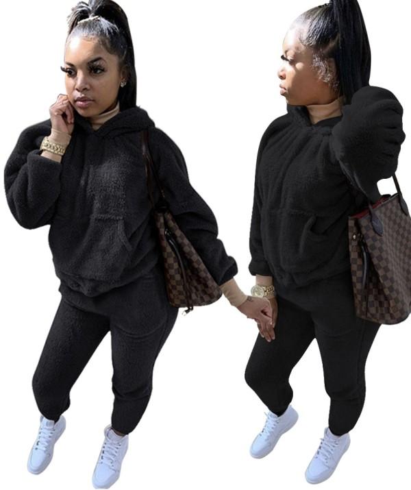 Sweat-shirt uni à capuche en molleton d'hiver grande taille