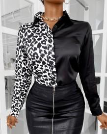 Autumn White and Black Print Elegant Blouse