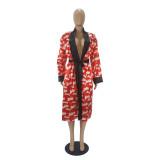 Herbst Party Print Robe mit passendem Gürtel