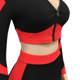 Autumn Matching Tight Contrast Zipper Crop Top und Hosen Set