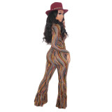 Herbst Party Print Sexy V-Neck Flare Jumpsuit