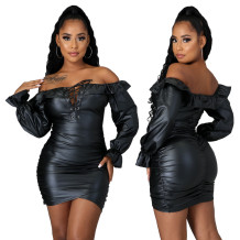 Winter Party Off Shoulder Lace Up Leather Scrunch Mini Dress