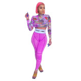 Autumn Party Buntes Print Crop Top und High Waist Legging Set