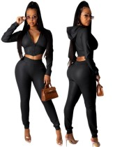 Winter Party Sexy Leder Hoody Crop Top und Hosen Set