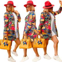 Осеннее африканское красочное длинное пальто