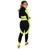 Autumn Matching Tight Contrast Zipper Crop Top und Hosen Set