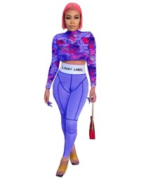 Autumn Party Colorful Print Crop Top and High Waist Legging Set