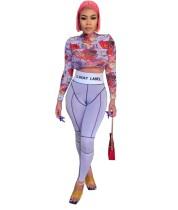 Conjunto de leggings de cintura alta y top corto con estampado colorido de fiesta de otoño