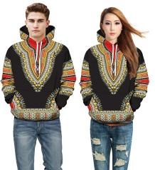 Camisa de moletom com capuz Dashiki africano outono