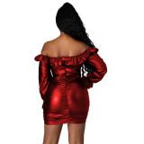 Winterfeestje Off Shoulder Lace Up Leather Scrunch Mini-jurk