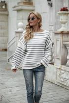 Autumn Stripes Print Pullover mit rundem Halsausschnitt