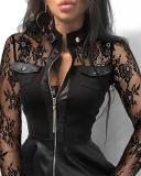 Spring Black Lace Patchwork Reißverschluss Vintage Skater Kleid