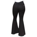 Herbstliche stilvolle Bell Bottom Jeans mit hoher Taille