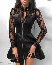 Весеннее черное кружевное винтажное платье с плиссированной юбкой на молнии в стиле пэчворк
