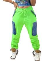 Pantalon de survêtement d'hiver à taille haute avec poches contrastées